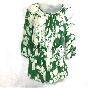 Talbots size 2 cream green floral print blouse top